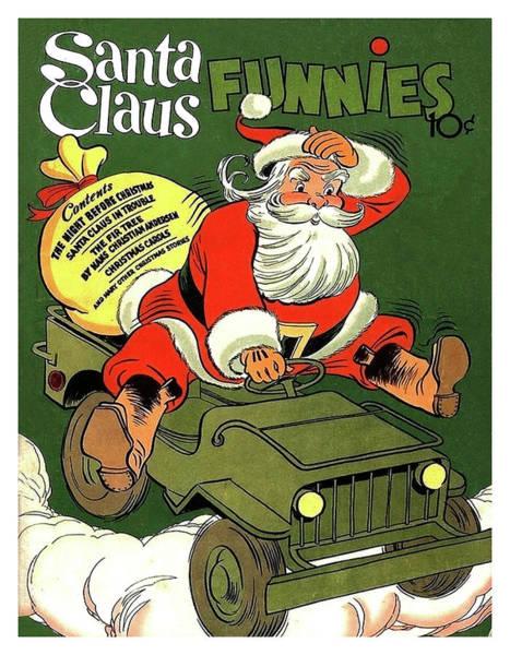 Santa Mixed Media - Santa In A Hurry by Long Shot