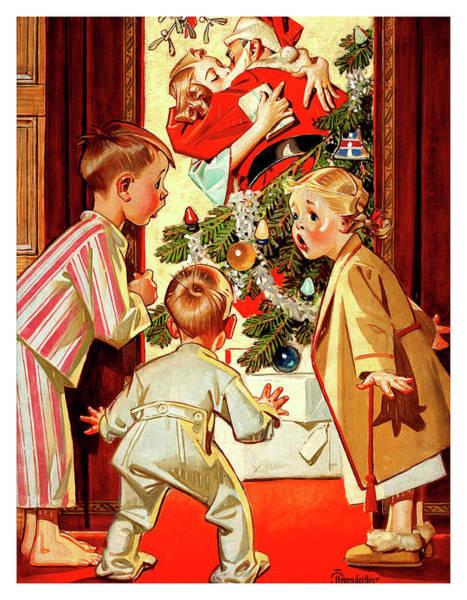 Santa Mixed Media - Santa Is Kissing Our Mam by Long Shot