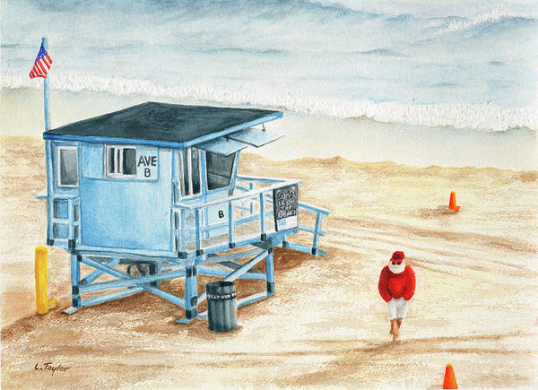 Santa Is On The Beach Art Print