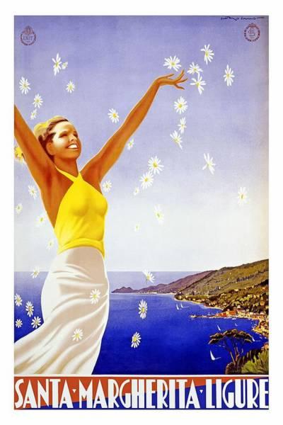 Santa Mixed Media - Santa Margherita Ligure - Woman Throwing Daisies In The Air  - Retro Travel Poster - Vintage Poster by Studio Grafiikka