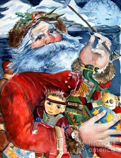 Trimming Painting - Santa by Mindy Newman