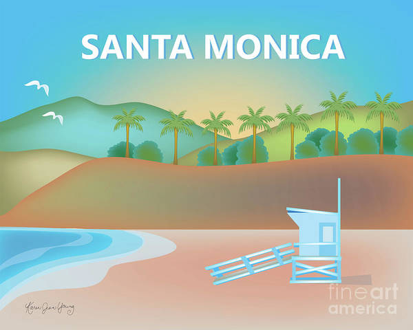 California Beaches Digital Art - Santa Monica California Horizontal Scene by Karen Young