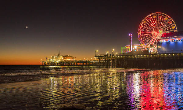 Photograph - Santa Monica Pier After Sunset by Michael Hope
