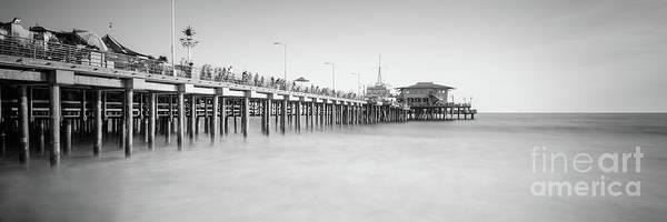 Santa Monica Pier Photograph - Santa Monica Pier Black And White Panorama Photo by Paul Velgos