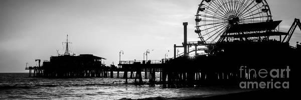 Santa Monica Pier Photograph - Santa Monica Pier Black And White Panoramic Picture by Paul Velgos