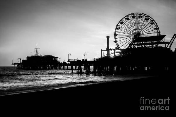 Santa Monica Pier Photograph - Santa Monica Pier Black And White Picture by Paul Velgos