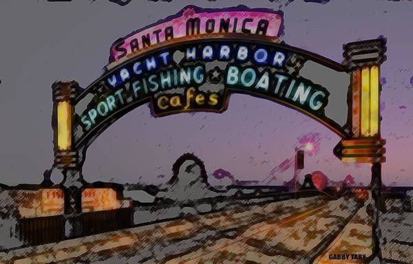 Digital Art - Santa Monica Pier by Gabby Tary