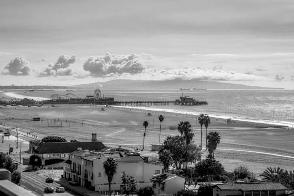 Photograph - Santa Monica Pier In Black And White by Gene Parks
