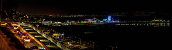 Photograph - Santa Monica Pier Light Show - Panorama by Gene Parks