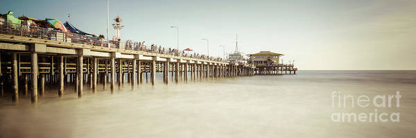 Santa Monica Pier Photograph - Santa Monica Pier Retro Panorama Photo by Paul Velgos