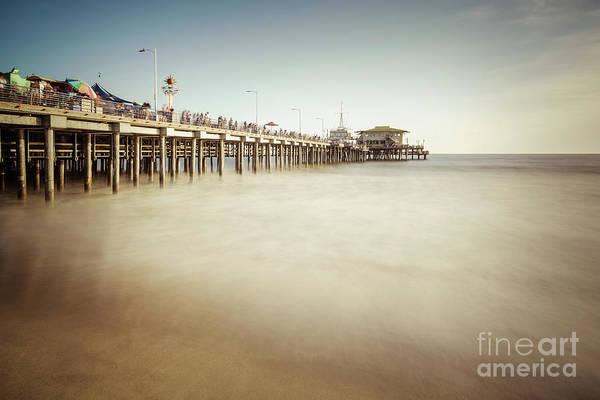 Santa Monica Pier Photograph - Santa Monica Pier Retro Photo by Paul Velgos