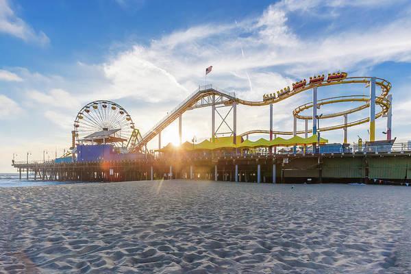 Photograph - Santa Monica Pier Roller Coaster On Top by Scott Campbell