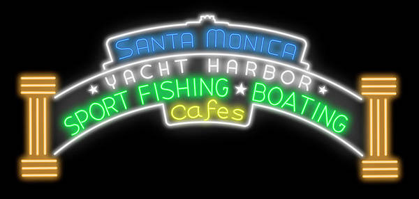 Wall Art - Digital Art - Santa Monica Pier Sign Digital Drawing by Ricky Barnard
