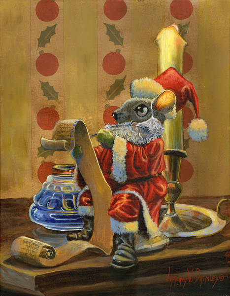 Inkwell Painting - Santa Mouse by Jeff Brimley