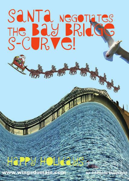 Photograph - Santa Negotiates The Bay Bridge S-curve by Wingsdomain Art and Photography