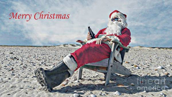 Jolly Holiday Photograph - Santa Relaxing On The Beach by Benanne Stiens
