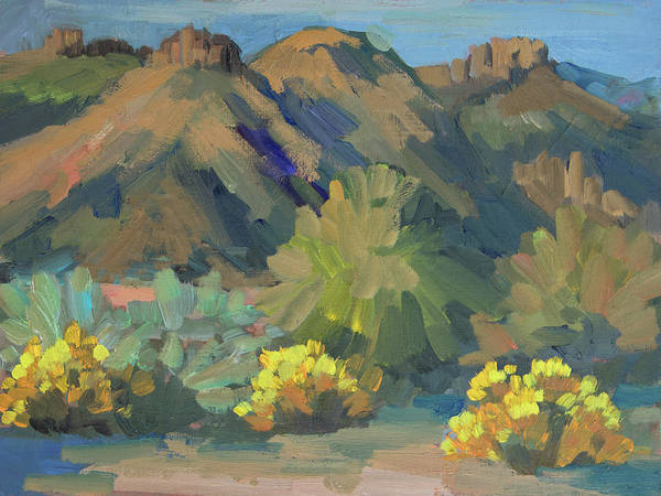 Wall Art - Painting - Santa Rosa Mountains And Brittle Bush by Diane McClary