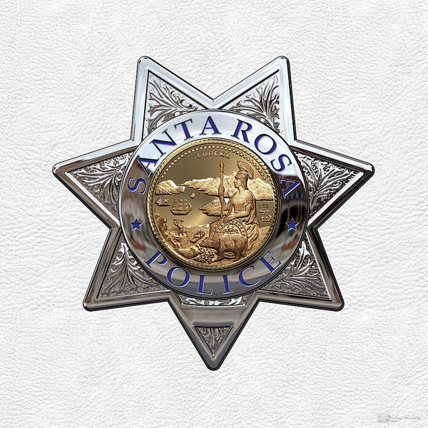 Rosa Digital Art - Santa Rosa Police Department Badge Over White Leather by Serge Averbukh
