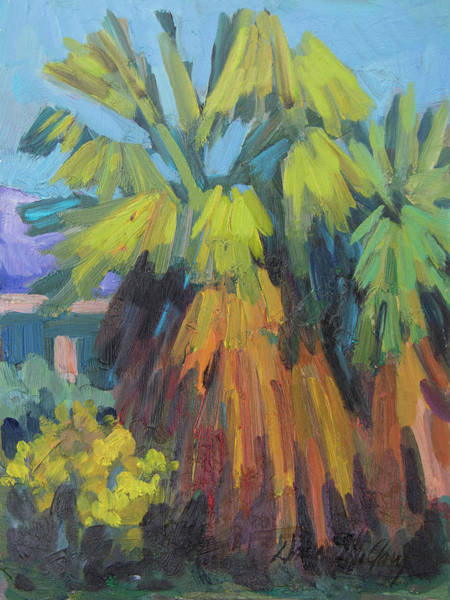 Wall Art - Painting - Santa Rosa Visitors Center Palms by Diane McClary