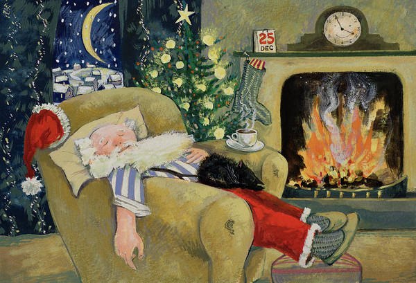 Fireplace Painting - Santa Sleeping By The Fire by David Cooke