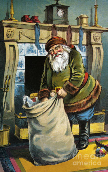 St Nicholas Painting - Santa Unpacks His Bag Of Toys On Christmas Eve by William Roger Snow