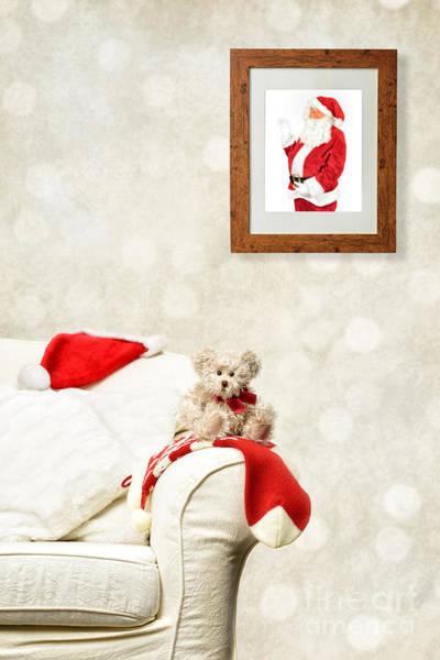 Santa Watching Teddy Art Print