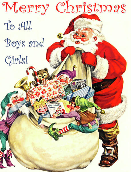 Toy Mixed Media - Santa With Bag Full Of Gifts by Long Shot