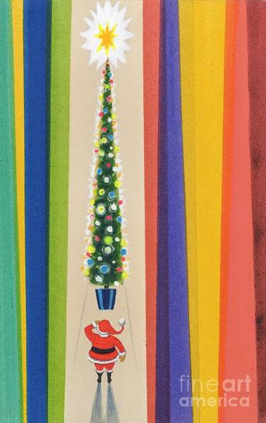 Wall Art - Painting - Santa's Christmas Tree by Stanley Cooke