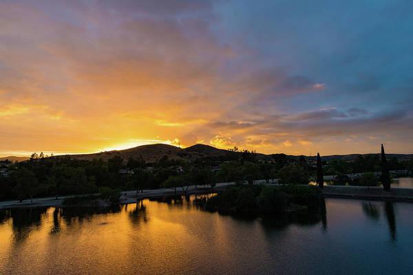 Photograph - Santee Lakes Brilliant Sunset by TM Schultze