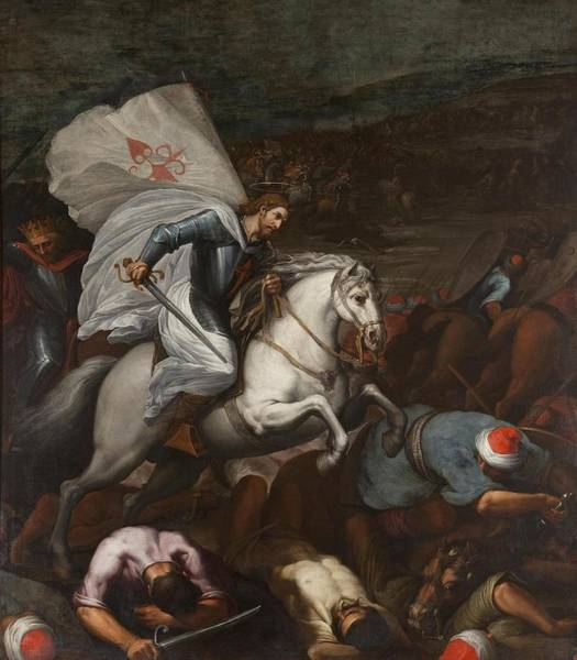 Wall Art - Painting - Santiago At The Battle Of Clavijo by MotionAge Designs
