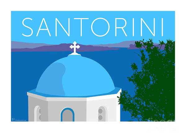 Digital Art - Santorini Dome - Blue by Sam Brennan