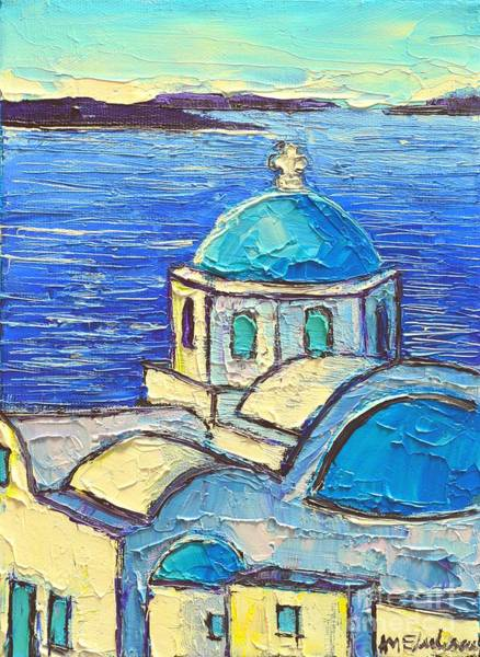 Greek Icon Painting - Santorini  Blue by Ana Maria Edulescu