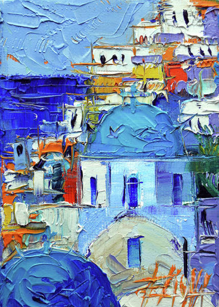 Wall Art - Painting - Santorini Blue Cupolas - Mini Cityscape 10 - Palette Knife Oil Painting by Mona Edulesco
