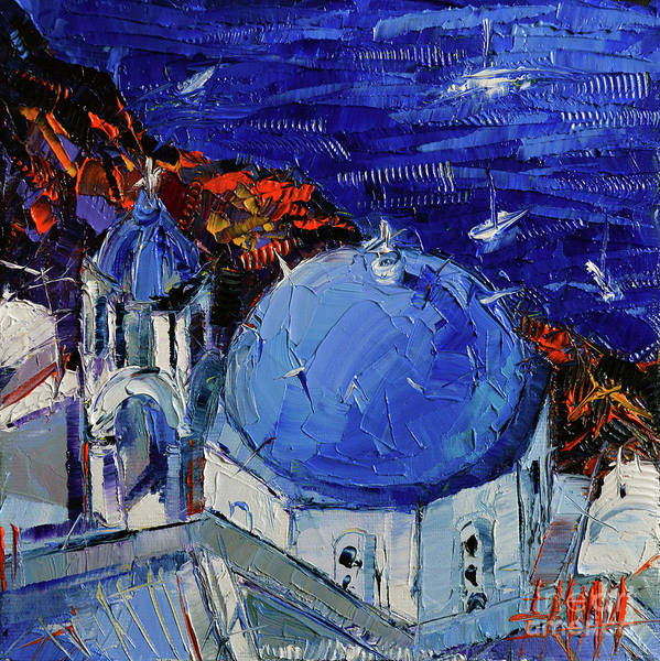 Dome Painting - Santorini Blue Domed Church - Mini Cityscape 06 by Mona Edulesco