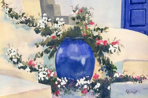 Potted Plant Painting - Santorini Blues by Marsha Elliott