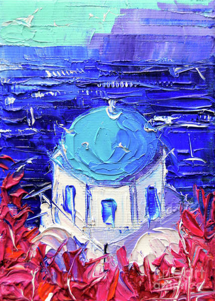 Wall Art - Painting - Santorini Church Cupola - Mini Cityscape 11 - Palette Knife Oil Painting by Mona Edulesco