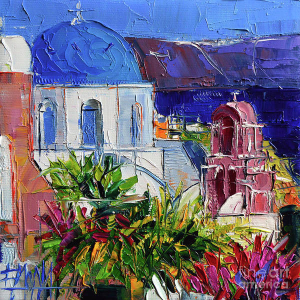 Dome Painting - Santorini Church - Mini Cityscape 01 - Modern Impressionist Palette Knife Oil Painting by Mona Edulesco
