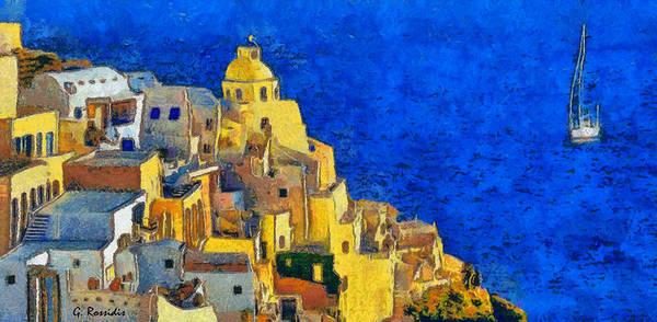 Greek House Painting - Santorini by George Rossidis