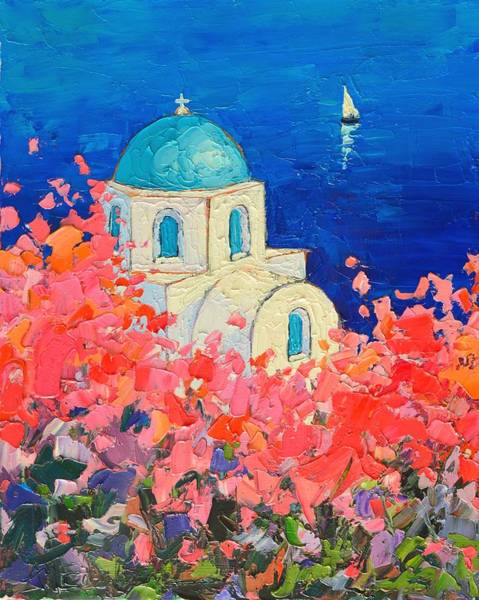 Dome Painting - Santorini Impression - Full Bloom In Santorini Greece by Ana Maria Edulescu