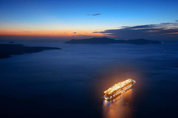 Photograph - Santorini Island With Cruise Ship by Songquan Deng