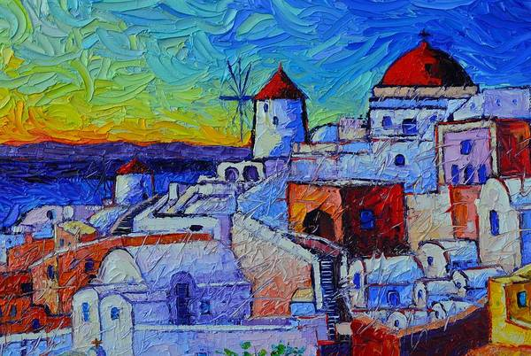 Painting - Santorini Oia Colors Modern Impressionism Impasto Palette Knife Oil Painting By Ana Maria Edulescu by Ana Maria Edulescu