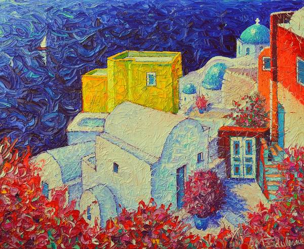 Painting - Santorini Oia In Bloom Greece Impressionist Impasto Palette Knife Oil Painting By Ana Maria Edulescu by Ana Maria Edulescu