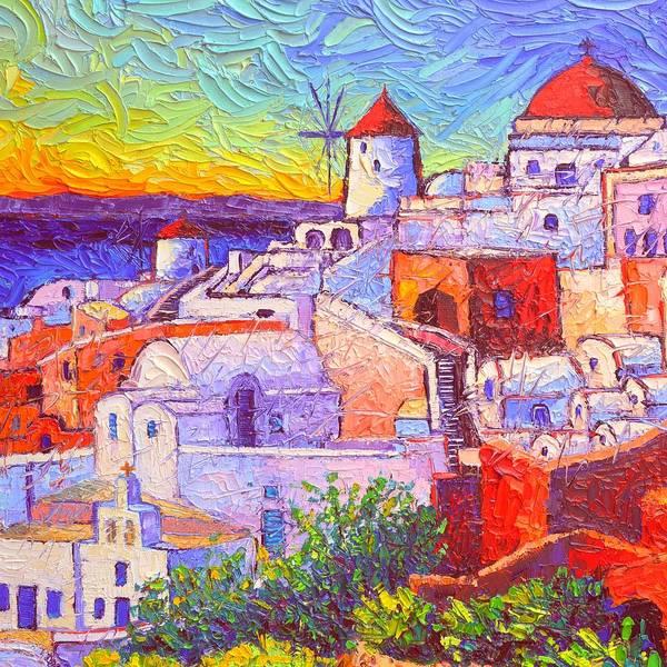 Painting - Santorini Oia Light Modern Impressionist Impasto Palette Knife Oil Painting By Ana Maria Edulescu by Ana Maria Edulescu