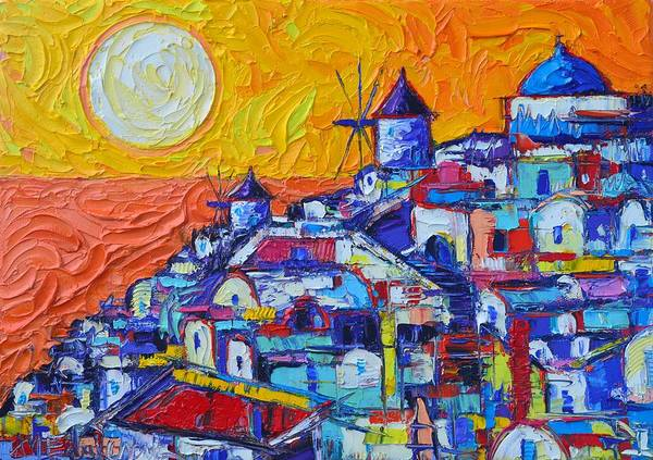 Painting - Santorini Oia Sunset 7 Abstract Cityscape Impasto Palette Knife Oil Painting By Ana Maria Edulescu  by Ana Maria Edulescu
