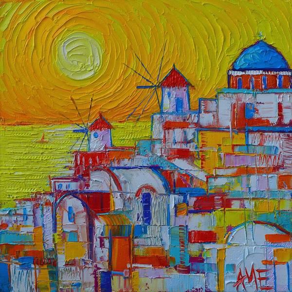 Painting - Santorini Oia Sunset Greece Abstract City Modern Impressionist Knife Oil Painting Ana Maria Edulescu by Ana Maria Edulescu