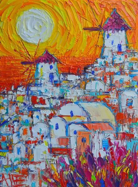 Painting - Santorini Oia Windmills Sunset Abstract Impressionist Impasto Knife Oil Painting Ana Maria Edulescu  by Ana Maria Edulescu