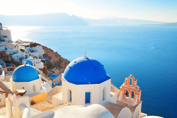Photograph - Santorini Skyline Blue Church by Songquan Deng