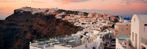 Photograph - Santorini Skyline Sunset by Songquan Deng