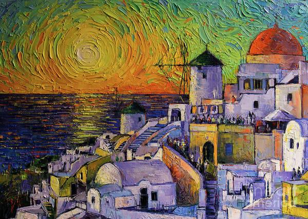 Wall Art - Painting - Santorini Sundown by Mona Edulesco