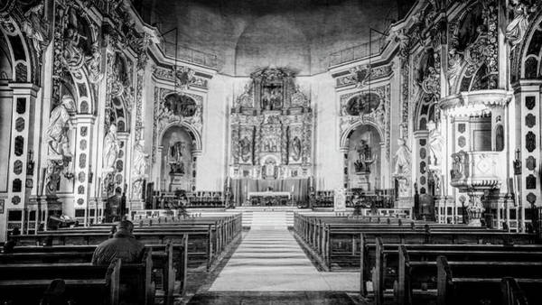 Photograph - Santos Juanes Church Valencia Spain Bw by Joan Carroll